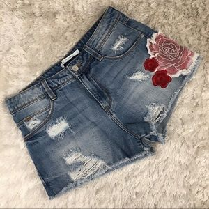 Zara Trafaluc Jean Shorts Embroidery Roses Sz4